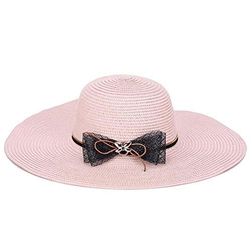 Topdo - Sombrero de paja antirayos UV, protección solar, sombrero de playa, piscina, pesca, viaje, para mujeres y hombres, color rosa, tamaño 40*18cm