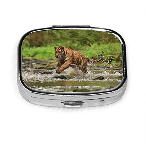 The Siberian Tiger Fashion Square Pill Box Vitamin Medicine Tablet Holder Wallet Organizer Case