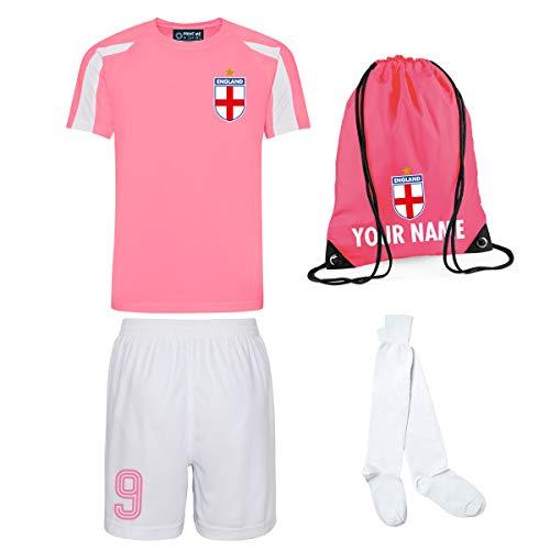 Mädchen-Set, Fußballtrikot, Shorts, Socken, personalisierbare Tasche (Electric Pink/Weiß mit weißen Shorts, 5–6 Jahre/66 cm)