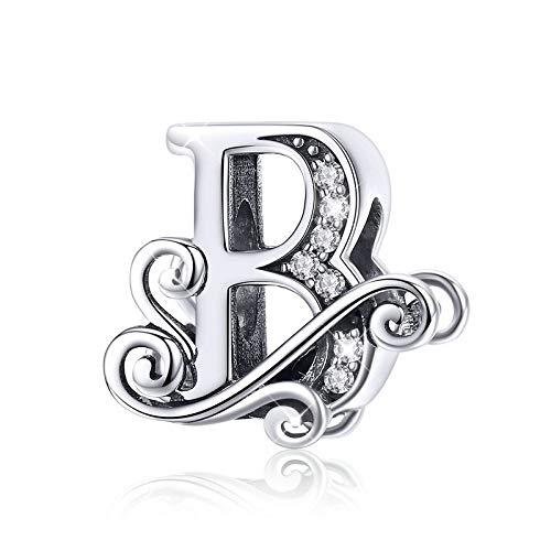 Abalorio de plata de ley 925, diseño de letra Q, para pulsera o collar B