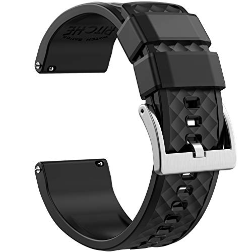 22mm Silicone Watch Bands Compatible with Samsung Gear S3 Frontier Watch Quick Release Rubber Watch Bands for Men