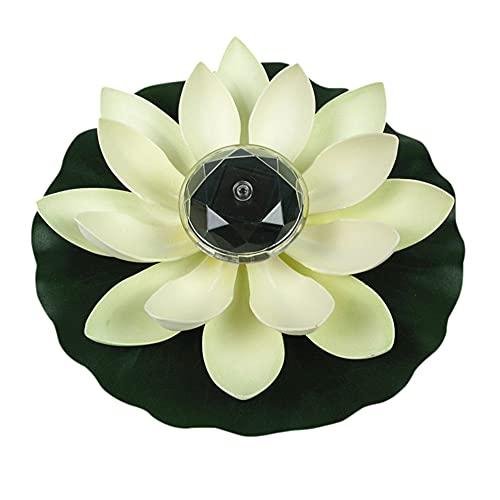 Demiawaking Solar Lotus Lampe Wasserdichte LED Solarlampen für außen Blumenleuchte Schwimmender Brunnen Garten Teich Pool Deko Lampe Gartenleuchtung (Weiss)