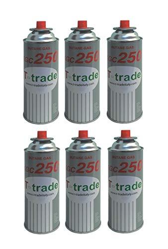 ALTIGASI 6 stuks - cartridge gaspatroon GPL 250 g art. KCG250 ideale soldeerbout voor open haard of oven, geschikt voor kamperen, Brunner