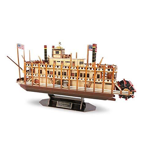 Mississippi Barco De Vapor Modelo De Construcción 3D Tridimensional Papel Ensamblado Modelo De Construcción Niños Adultos Juguete Rompecabezas Trabajos Hechos A Mano