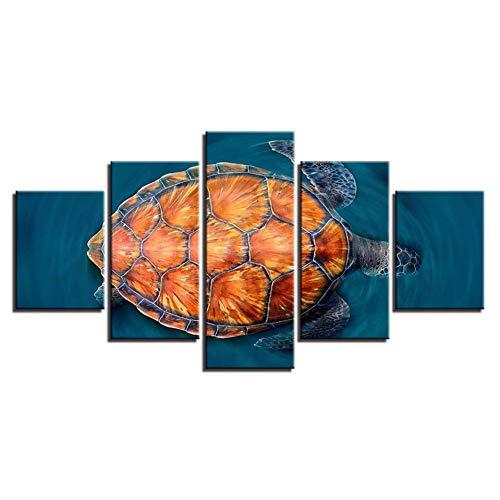 DJxqJ 5 Leinwanddrucke Poster Rahmenmalerei auf Leinwand Wohnzimmer Hd 5 Panel Schildkröte Tier Modulares Bild Wandkunst Home Decoration Printed Modern