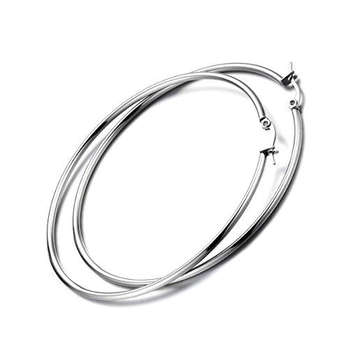 Flongo Orecchini Gancio Donna Grande Cerchio Clip Earings in Acciaio Inossidabile Colore Argento