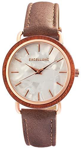 Excellanc Damen – Uhr Lederimitations Armbanduhr Holz-Ring Analog Quarz 1900244 (Braun/Roségoldfarbig)
