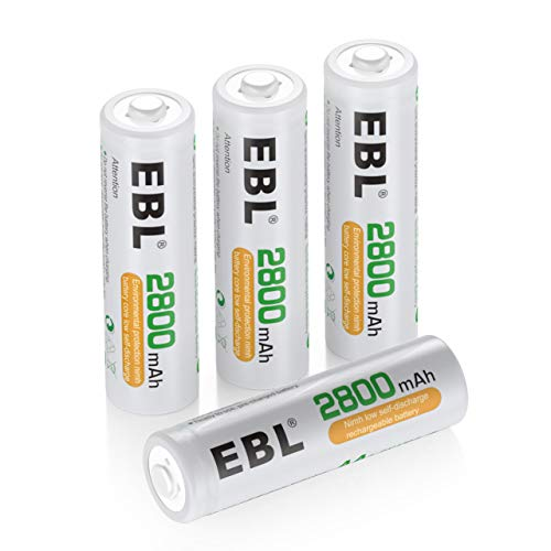 EBL Lot de 4 Piles AA Rechargeables 2800mAh Ni-Mh 1200 cycles