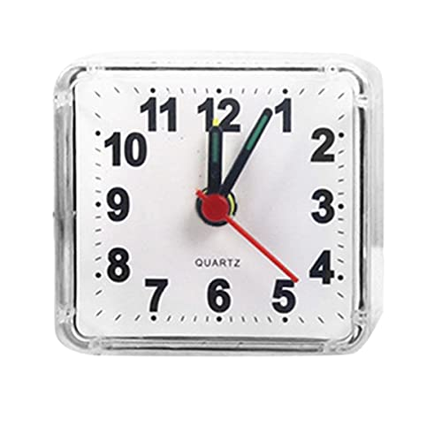 Gobutevphver Reloj Despertador electrónico Creativo Lindo pequeño Cuadrado Cristal Reloj Despertador Reloj Despertador Dormitorio mesita de Noche Reloj electrónico de Oficina - Blanco