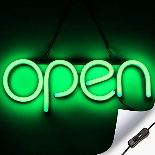 LED Neon Open Sign Light for Business with ON & Off Switch - Lightweight & Energy Efficient for Restaurants Offices Retail Shops Window Storefronts - Green