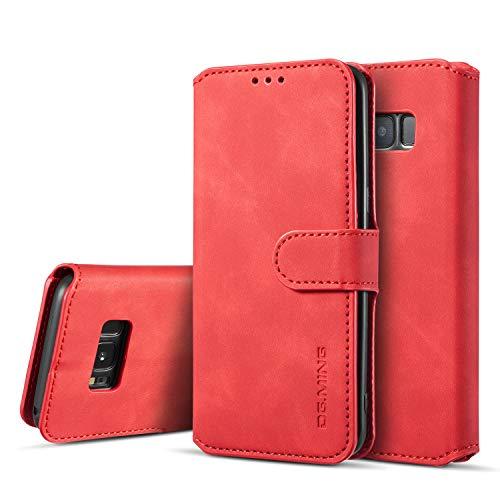 UEEBAI Handyhülle für Samsung Galaxy S8, Hülle Retro Premium PU Leder Weich Klapphülle Magnetverschluss Wallet Kartenfach Standfunktion Cover Anti Kratzern Flip Case Trageband Schutzhülle - Rot