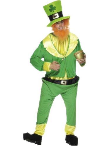 Smiffys-26148 Disfraz de Duende, con Enterizo, Chaqueta, Sombrero y Barba Pelirroja, Color Verde, Tamaño único (Smiffy'S 26148)