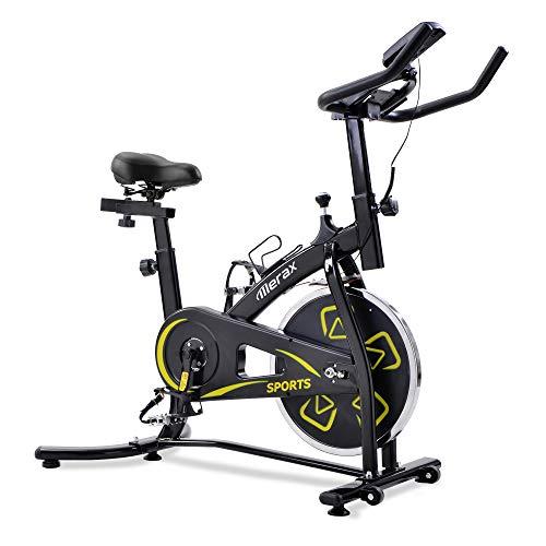 Bicicletas Estáticas de Spinning Ajustables Bicicleta Fitness Pantalla LCD, Bicicleta de Ejercicios Aeróbicos Sport para Interiores Entrenamiento Ejercicios Cardiovasculares [EU Stock] (Amarillo)