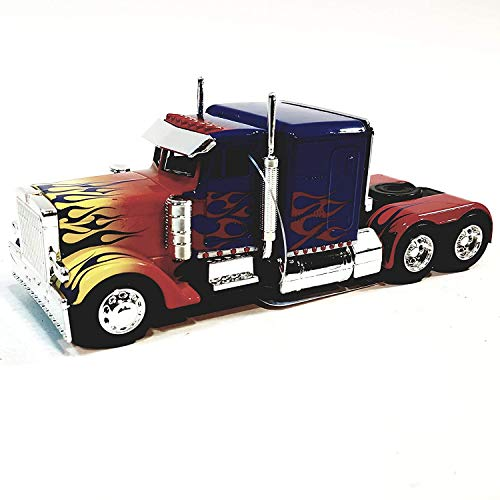 Hollywood Rides Jada Transfomers Blue & Red Flames Western Star 5700 XE Phantom Optimus Prime 1/32 Scale Diecst Truck