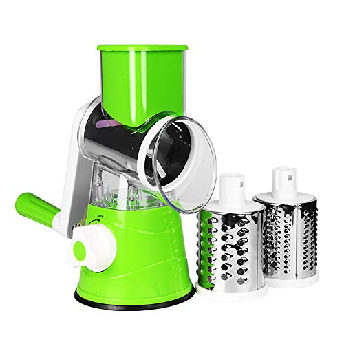 yui graters for kitchen stainless steel Food Crusher Cheese Grater for Vegetable Cutter Multi Slicer Shredder Cabbage 3 In 1 Chopper Kitchen Accessories Salad Spinner hand grater (Color : Green)