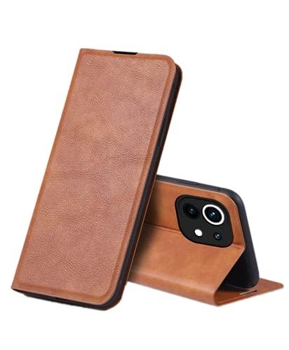 Mi 11 Lite 5G 手帳ケース Mi 11 Lite 5Gケース カード収納 カメラ保護 耐衝撃 スタンド 財布 落下防止 Mi 11 Lite カバー (ブラウン)