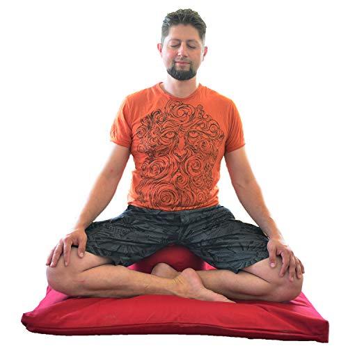 KlarGeist Tappetino da meditazione Zabuton cuscino da meditazione cuscino grano saraceno invece di farro, rosso vino, 100 x 80 x 8 cm