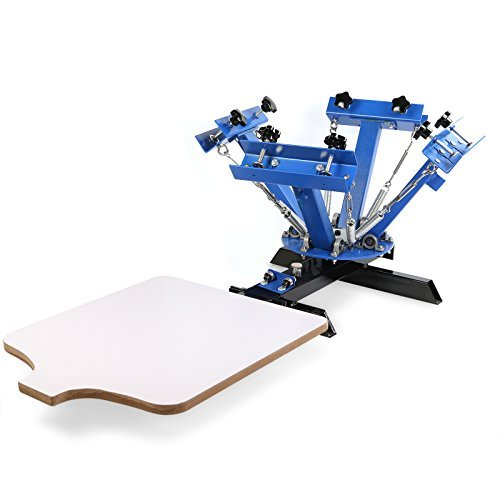 Mophorn Screen Printing Machine Silk Screen Printing Machine Screen Printing Press 4 Color 1 Station Adjustable Double Spring Devices (4 Color 1 Station)