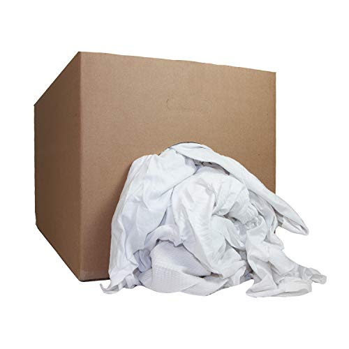 Arkwright LLC White Knit Cleaning T-Shirt Rags (50 lbs. Box) - Bulk Rags for Multipurpose Cleaning Solutions, Shop Floor, Garage, Restaurant Cleaning Towels, Washcloth for Home, Bars