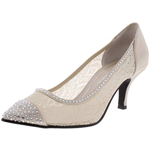 Caparros Womens Quillian Satin Lace Dress Heels Beige 9 Medium (B,M)