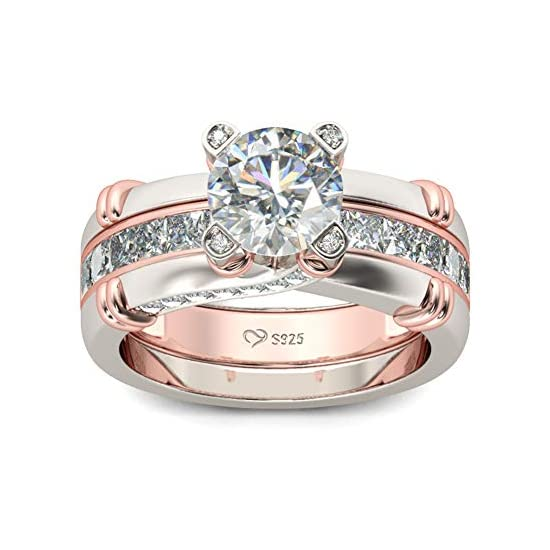 JEULIA Diamond Band Rings for Women cz Sterling Silver Interchangeable Ring Sets Wedding Engagement Anniversary Promise…