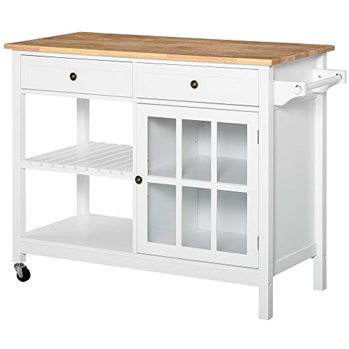 HOMCOM Kitchen Island Utility Storage Cart with Rubber Wood Top, Towel Rack, 2 Cabinets & Drawers for Dining Room, White