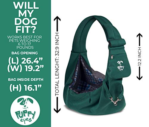 Puppy Eyes Pet Carrier Sling Ideal for Small & Medium Dogs, Cats or Rabbits up to 15 lb. Comfortable & Easy-Care | Free Seat Belt & Ebook | Adjustable & Reversible Design with Zippered Pocket 4