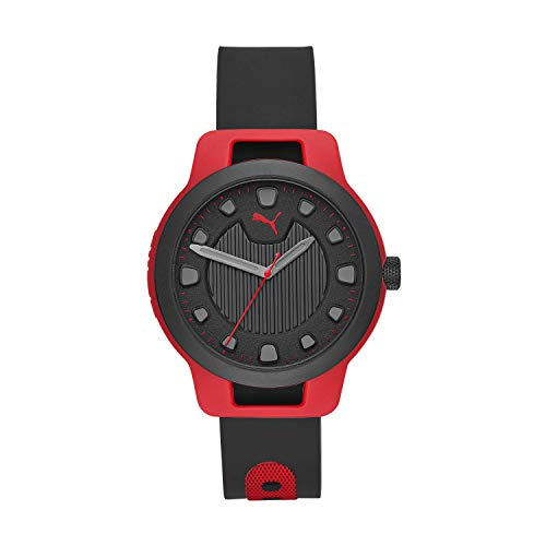 PUMA Men's Reset V1 Quartz Watch with Silicone Strap, Black, 20 (Model: P5001)