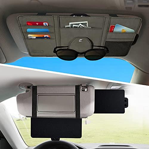 Car Sun Visor Extender,Veharvim Car Visor Organizer with Extension Front & Side Sunshade Window Protects from UV Rays,Multi-Pocket Car Organizer Accessories with Sunglass Holder for Motor Trucks, Cars
