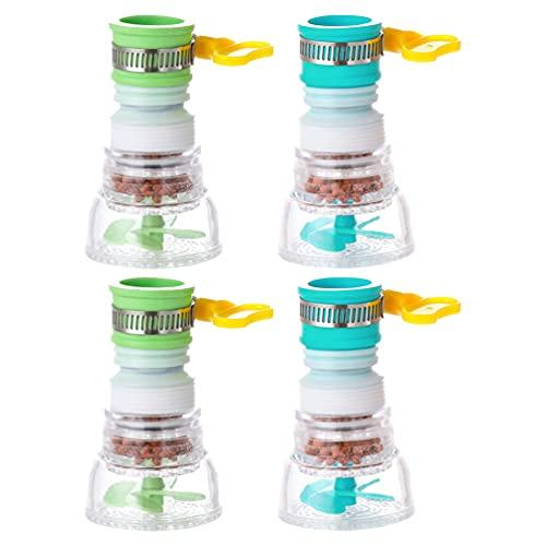 Toyvian 4 Piezas Práctico Giratorio Grifo Filtro de Agua Conexión del Adaptador Extensible Cabezal de Rociado de Cocina (Verde Y Azul * 2 * 2)