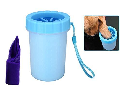 Bochang Limpiador Patas Perro-Cepillo para Perros-Limpia Patas Perro-Mascota portátil Limpiador con Toalla para Mascotas Perros Accesorios-Limpiador de Patas para Perro Gato