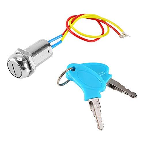 Interruptor de encendido, cerradura de encendido de 2 cables duradera universal confiable con llave para bicicleta eléctrica para automóvil