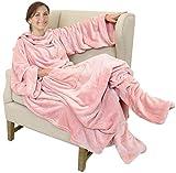 Catalonia TV-Decke Kuscheldecke mit Ärmel und Füßen, Profikuschel Ganzkörper Snuggle Decke zum Anziehen Winter Wolldecke für Erwachsene Frauen und Männer für Geschenk, 190 x 135 cm, Rosa