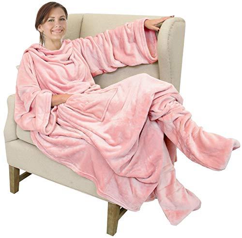 Catalonia TV-Decke Kuscheldecke mit Ärmel- und Fußtaschen Vlies-Decke große Wickeldecke zum Überwerfen, für Damen und Herren, 190x 135cm, Rosa