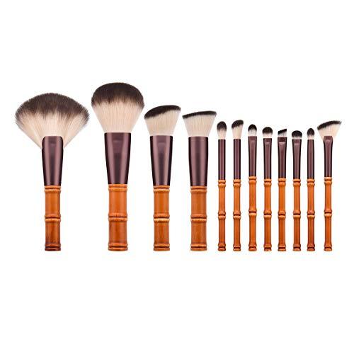 12pcs maquillage pinceau professionnel en forme de bambou court professionnel poignée cosmétiques pinceau pour le visage et les yeux (T-12-084)