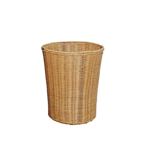 YZERTLH Pattumiera Office Barrel Paper Trash Can Round No Cover Home Soggiorno Camera da Letto Camera Articoli Vari Scatola di bambù Rattan Tessitura Pattumiera Cucina (Color : Yellow, Size : 12)