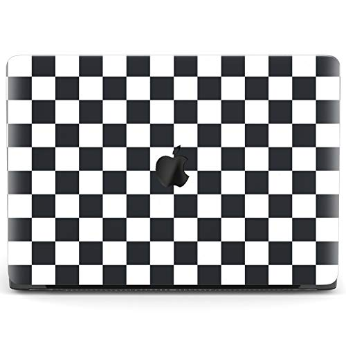 Mertak Hard Case Compatible with MacBook Pro 16 Air 13 inch Mac 15 Retina 12 11 2020 2019 2018 2017 Pattern Cover Geometric White Print Plastic Checkered Laptop Touch Bar Cool Protective Black