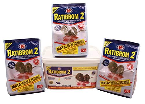 FERRETERIA LEPANTO Veneno para Matar Ratas y Ratones 3kg Cebo Fresco para Matar roedores - Cubo 3 Bolsas de 1 kg la Unidad, Ratibrom 2