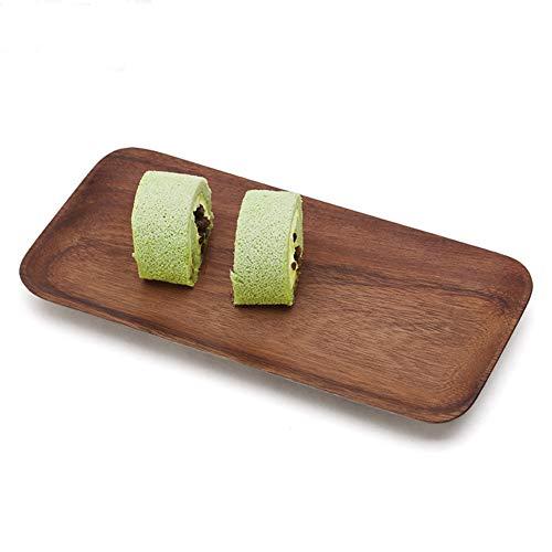 Fdit Rectángulo de madera Sushi Bandeja para servir Plato Vajilla(Los 25cm *...