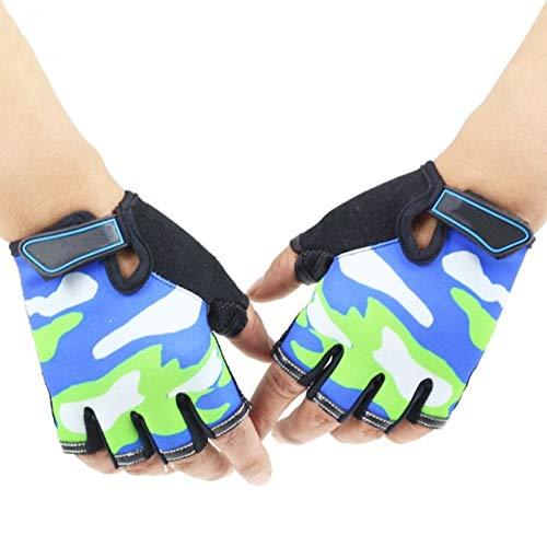YUKNICO Camouflage voor kinderen, antislip, halfvinger-fietshandschoenen, ademend, vingerloos, korte outdoor-sporten, rijden, pols, lengte handschoenen
