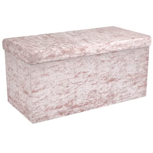 Intirilife Faltbare Sitzbank 76x38x38 cm in Samt Rosé - Sitzwürfel mit Stauraum und Deckel mit Samtbezug - Sitzcube Fußablage Aufbewahrungsbox Truhe Sitzhocker