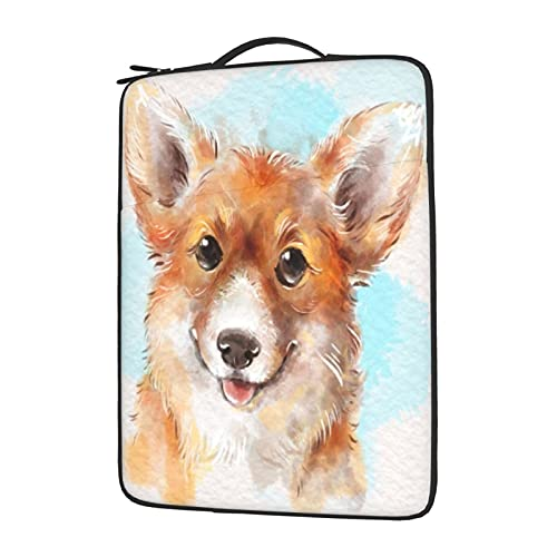 IBILIU Welsh Corgi Laptop Sleeve Bag 13 Inch,Gold Corgi Dog Cute Kawaii Doggy Laptop Carrying Case Protective Bag