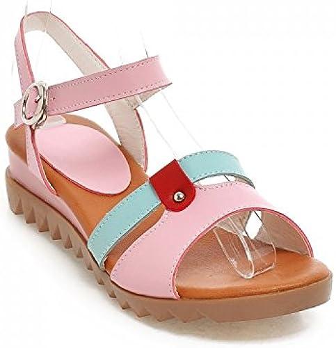 NVLXIE Femme Sandales Spell Couleur Surface Douce PU Confortable Loisirs Shopping Plage Trois Couleurs 4cm