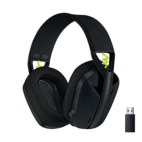 Logitech G435 Lightspeed Kabelloses Bluetooth-Gaming-Headset - Leichte Over-Ear-Kopfhörer, Integrierte Mikrofone, 18h Akku, Kompatibel mit Dolby Atmos, PC, PS4, PS5, Handy - Schwarz, 981-001050