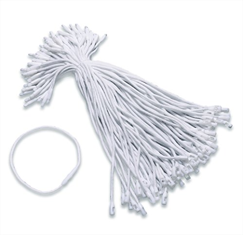 Tupalizy White Cotton Gift Clothing Price Tag String Hanging Rope Snap Lock Pin Loop Fastener Hook Ties for Luggage Label Attachment,7.5 Inch, 100PCS