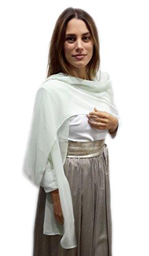 BRANDELIA Chiffon Schal Stola Ideal zum Sommerkleid oder Abendkleid. Elegante Chiffontücher, Mintgrün