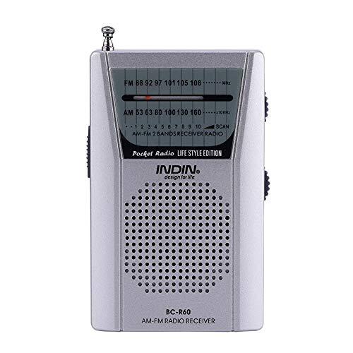 Bewinner Universele draagbare FM / AM-radio Mini-radio Wereldontvanger Ingebouwde luidspreker voor buitensporten AM / FM-ontvanger met hoge prestaties - telescopische antenne zilver