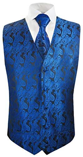 Paul Malone Hochzeitsweste + Krawatte schwarz blau Paisley - Bräutigam Hochzeit Anzug Weste Gr. 50 S