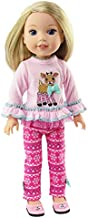 American Fashion World Pink Reindeer Pant Set Made for 14 inch Dolls Such as Wellie Wishers
