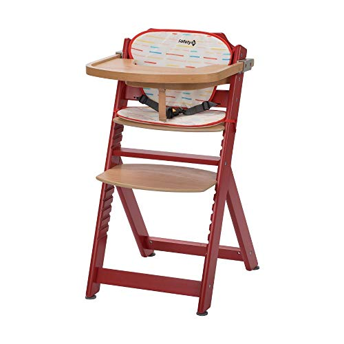 Safety 1st Timba con cojín, Trona de madera evolutiva, Trona para bebés con bandeja extraíble, Silla de altura regulable crece con el niño 6 meses - 10 años, color Rsapberry Red